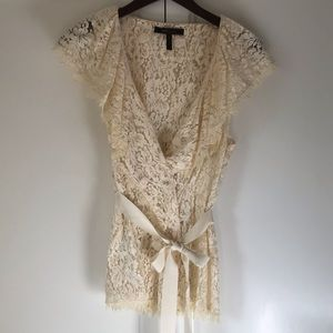 BCBG Lace Peplum Blouse with Ribbon Belt